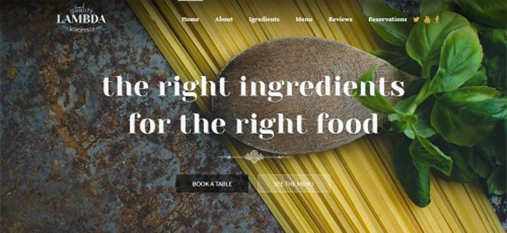 Single Page Restaurant PSD Template