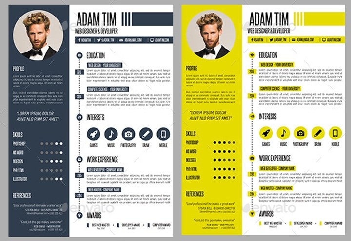 24 templates de CV sur Photoshop