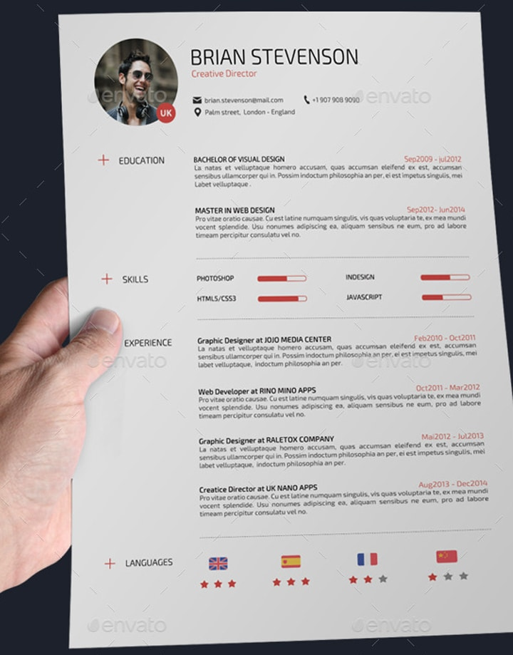 Permalink to 22 templates de CV sur Photoshop